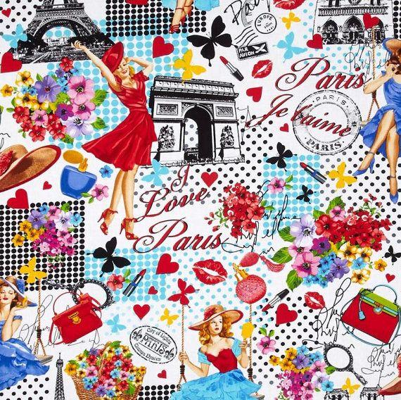 I LOVE PARIS Valance Cotton 40 x 14  Vintage Look  by AVintageLook