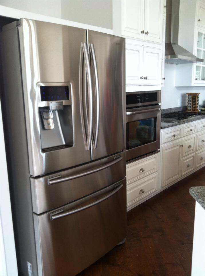 Kitchen hardwood flooring, french door refrigerator