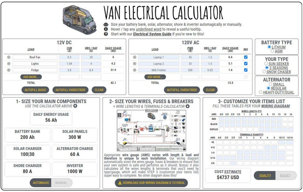 Van Electrical Calculator Faroutride In 2020 Electrical Calculator Van Electricity
