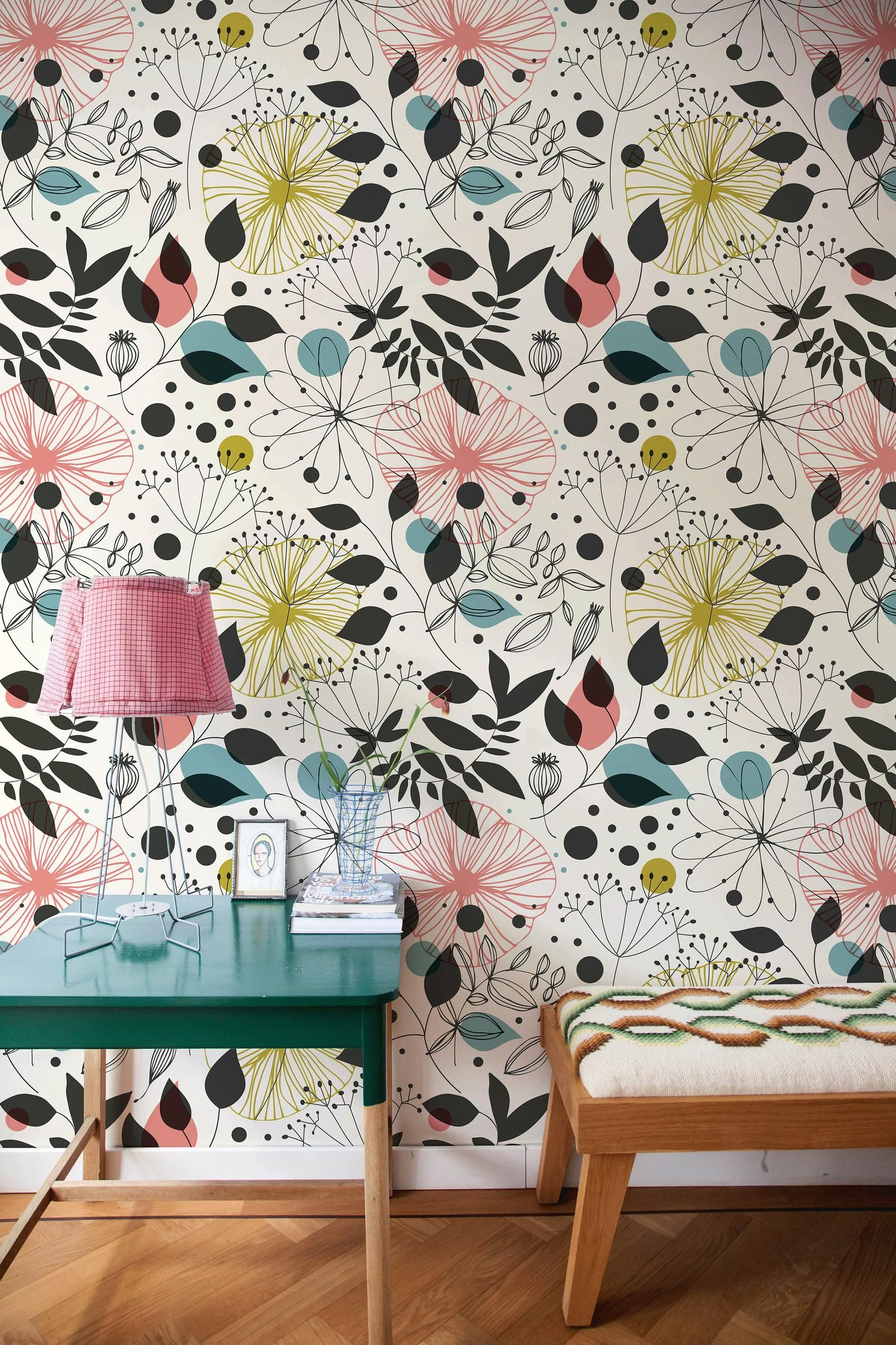 Removable Wallpaper Peel And Stick Wallpaper Wall Paper Wall Etsy In 2021 Vintage Floral Wallpapers Wall Wallpaper Removable Wallpaper