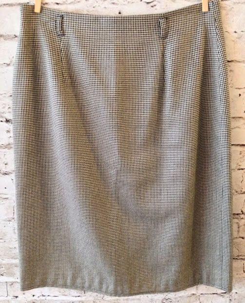 Jones New York Houndstooth Pencil Skirt Size 4 Career Silk Wool Blend Lined EUC #JonesNewYork #StraightPencil #Silk #Career #Business
