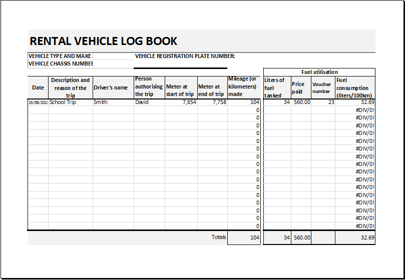 Petrol Log Book Template