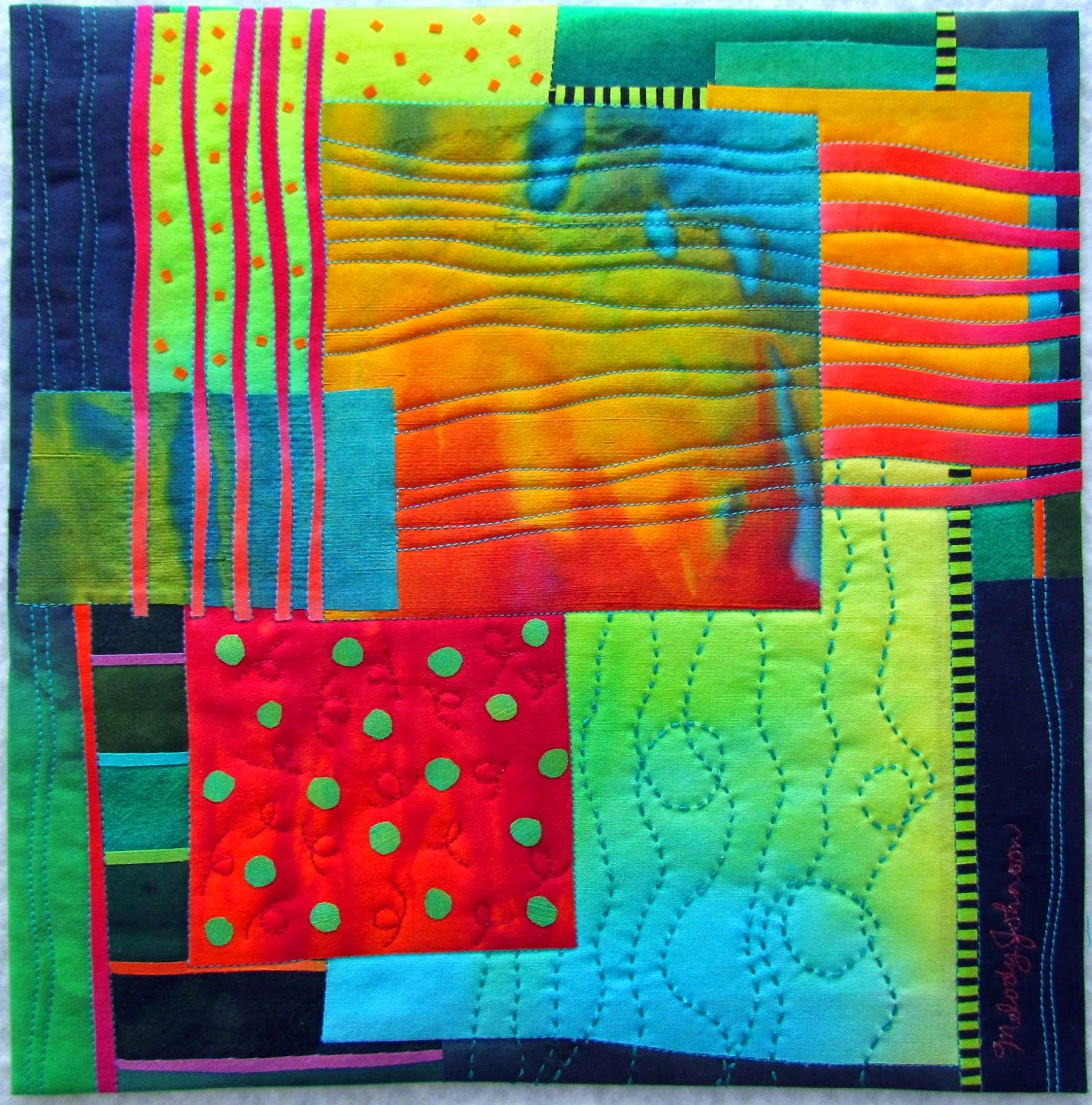 """Melody Johnson: Summer's End Hand dyed silks and cottons, fused, hand embroidered, machine quilted, 12"""" square."""