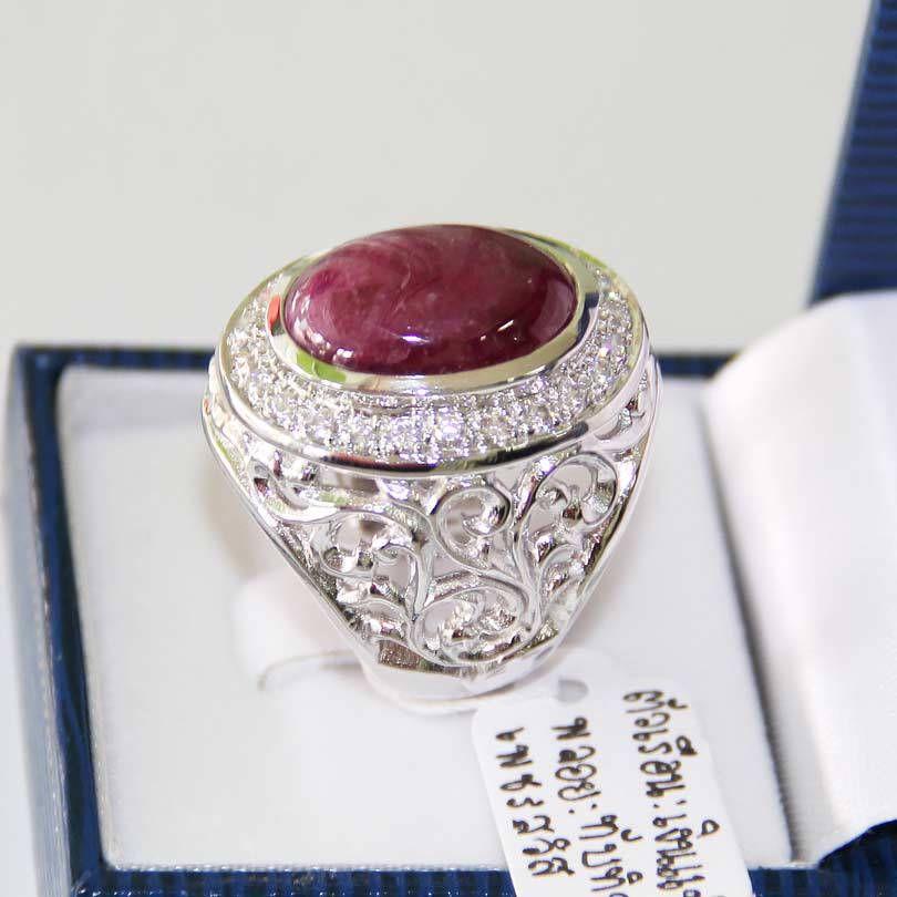 $229 Burmist Ruby Stone with CZ Diamonds Men\'s 925 Silver Ring ...