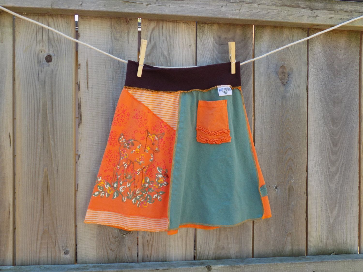Girls skirt, upcycled t-shirts, deer, nature, back to school by SewRevival on Etsy