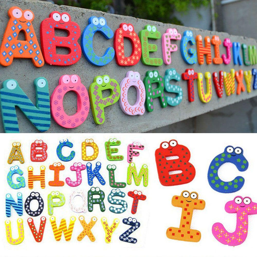 New 26PCS Wooden Alphabet Fridge Magnet Educational Study Toy For Children Kids #Unbranded