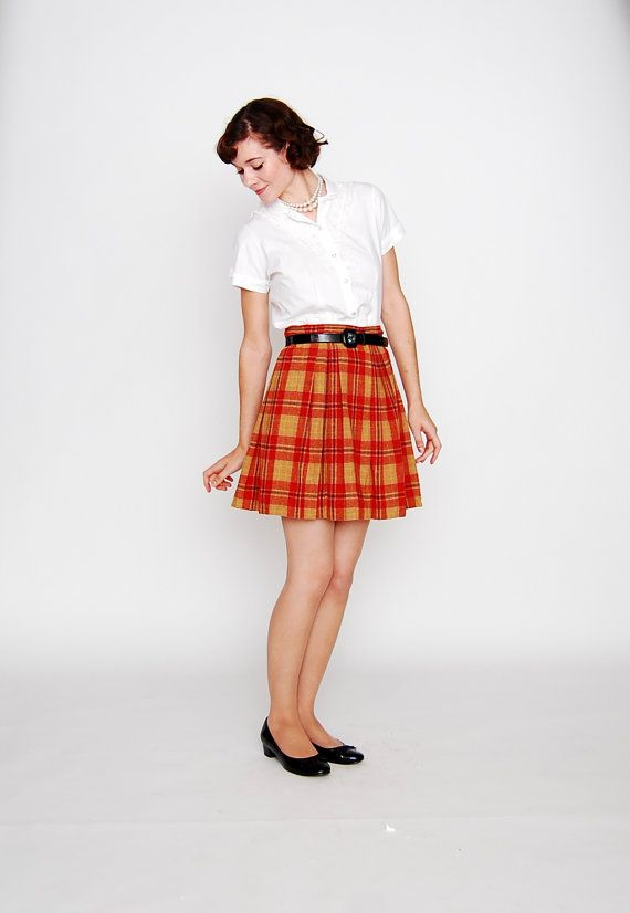 7e1514a05 Vintage 1960s Skirt - 60s Mini Skirt - Red and Orange Plaid Wool in ...