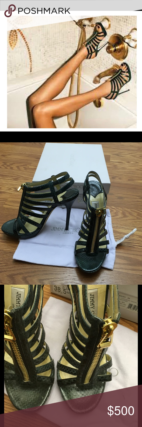 fd2e5f0c10cd Jimmy Choo Glenys In Elaphe Snake Green I obsessed over these due to that  add and