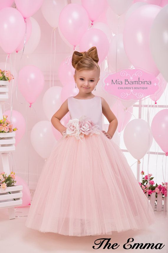 Blush Flower Girl Dress Tulle flower girl by MiaBambinaBoutique ...