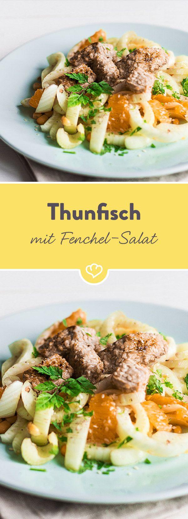 Thunfisch auf Orangen-Fenchel-Salat | Rezept | Fenchel, Thunfisch ...