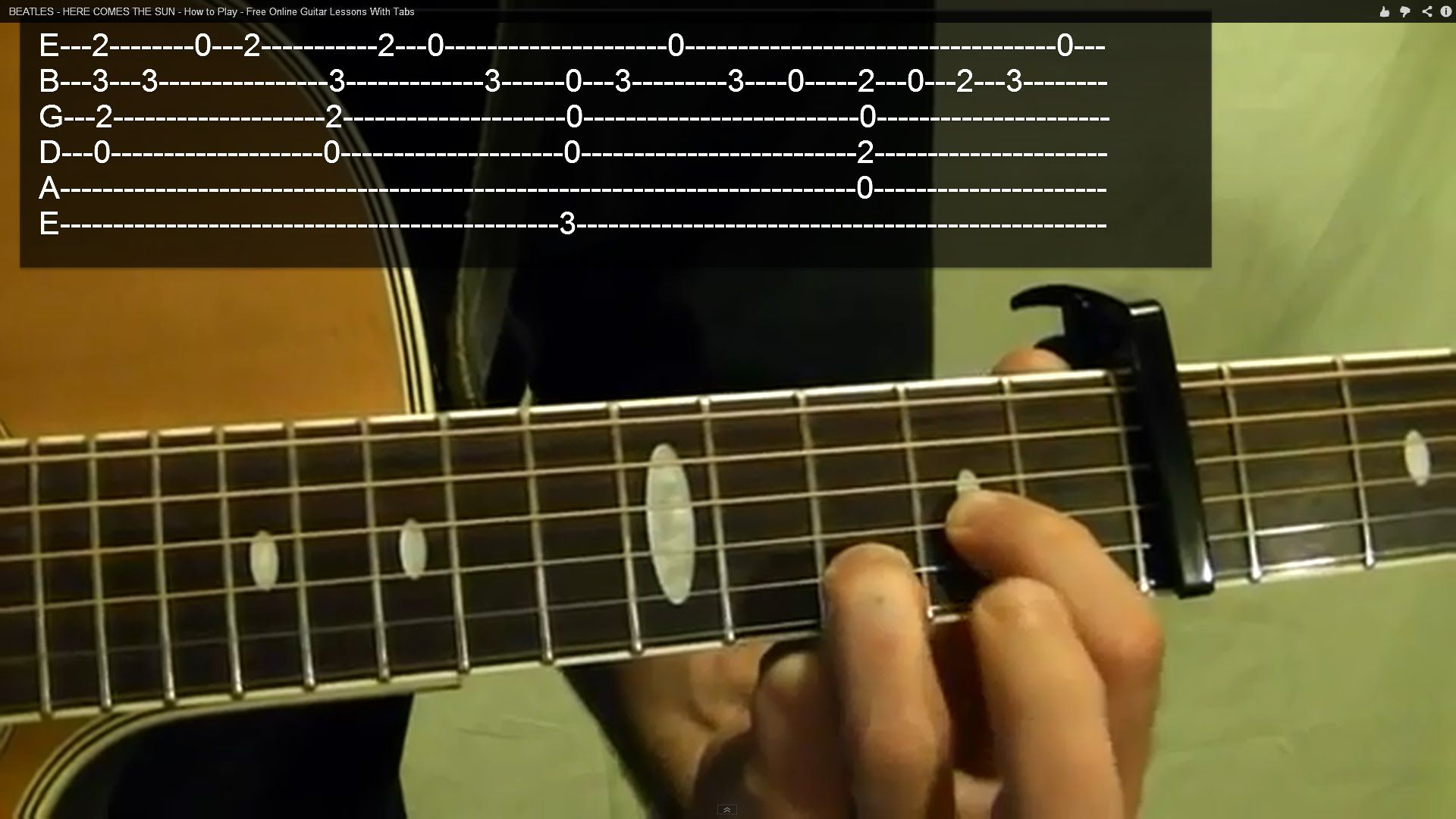 Beatles Here Comes The Sun Guitar Lesson How To Play On