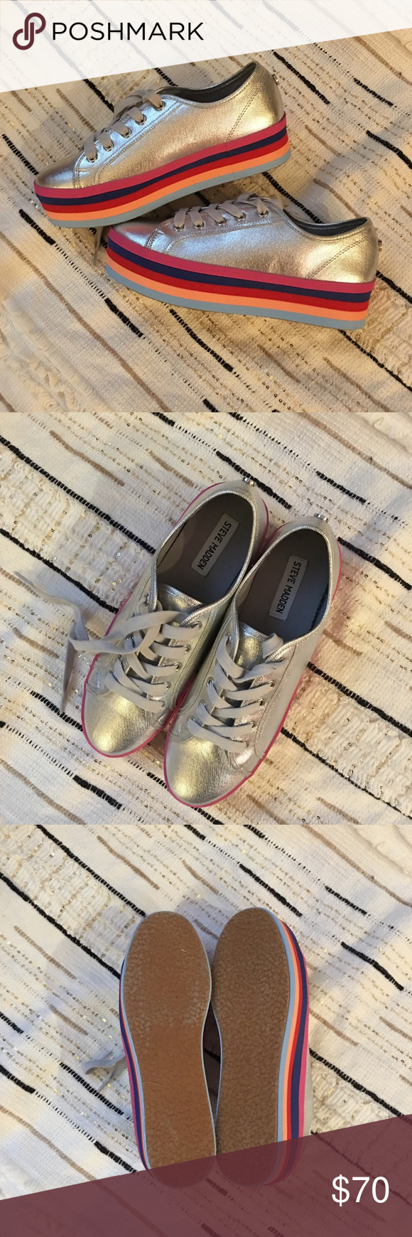 27697c1b797 Steve Madden rainbow platforms ✨ Cute Steve Madden silver   rainbow  platform sneakers! Grey laces. Never worn