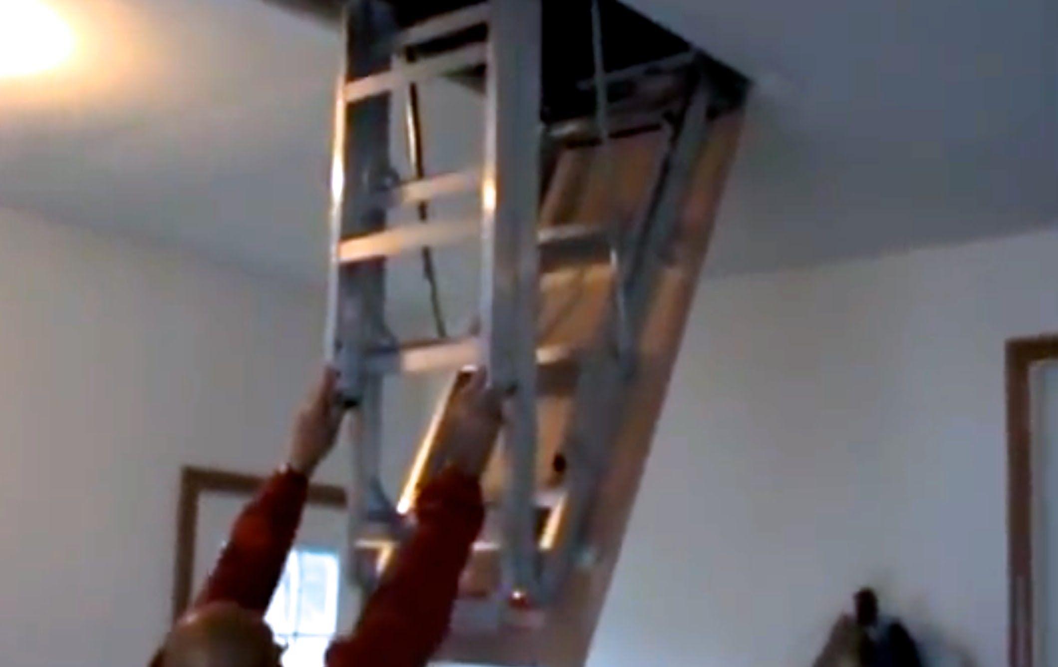 How To Install Attic Pull Down Stairs Gladiator Garage Organization 60059323 Garage Workshop Ideas How To Chang Attic Renovation Attic Stairs Attic Flooring