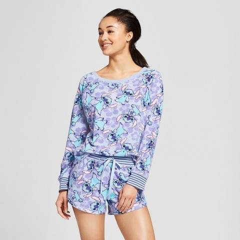 Disney Women s Disney Stitch LS Top and Shorts 2pc Pajama Set  fd7bde381