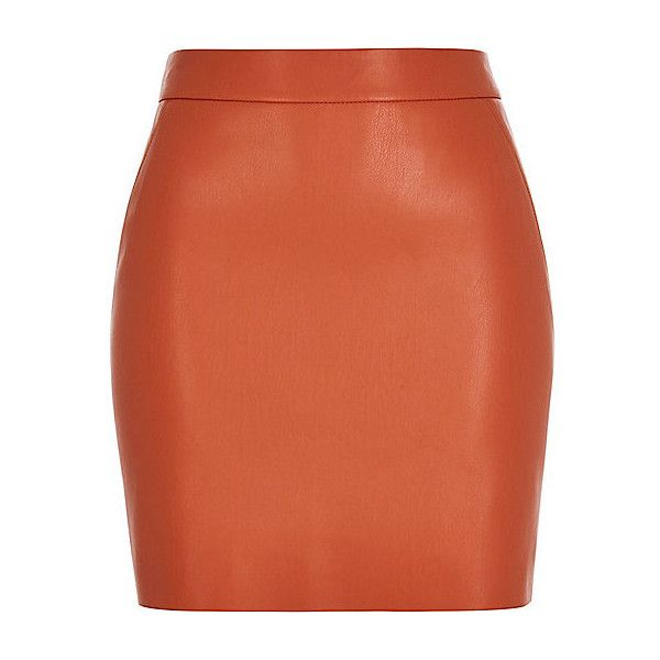 Orange leather look mini skirt ❤ liked on Polyvore featuring ...