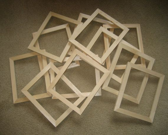 Unfinished Wood Picture Frames Lot Of 12 2x2 6x6 Etc Wood