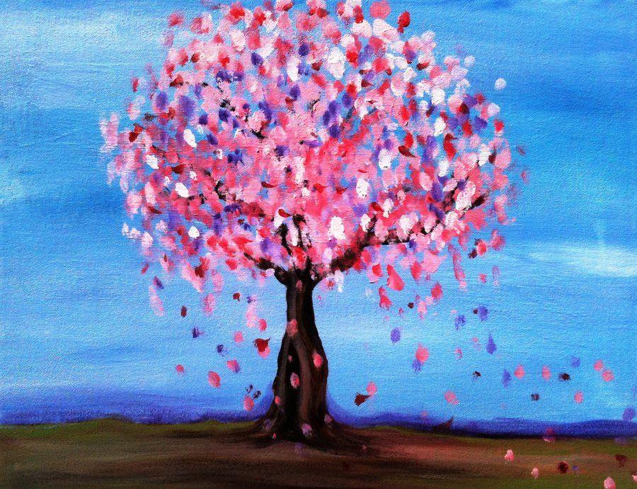 Sakura Cherry Blossom Tree Easy Canvas Painting Simple Canvas Paintings Simple Acrylic Paintings