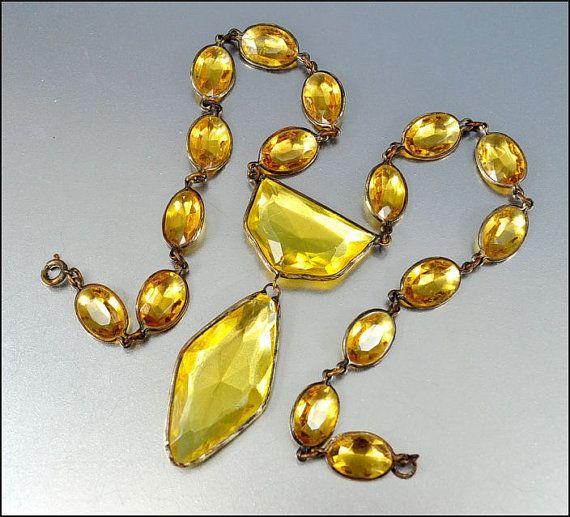 Citrine Crystal Glass Czech Necklace Art Deco Jewelry by boylerpf