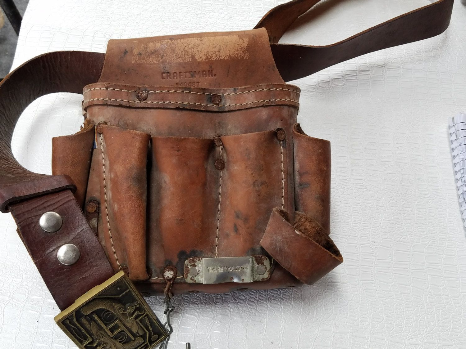 vintage leather craftsman tool belt with brass buckle by