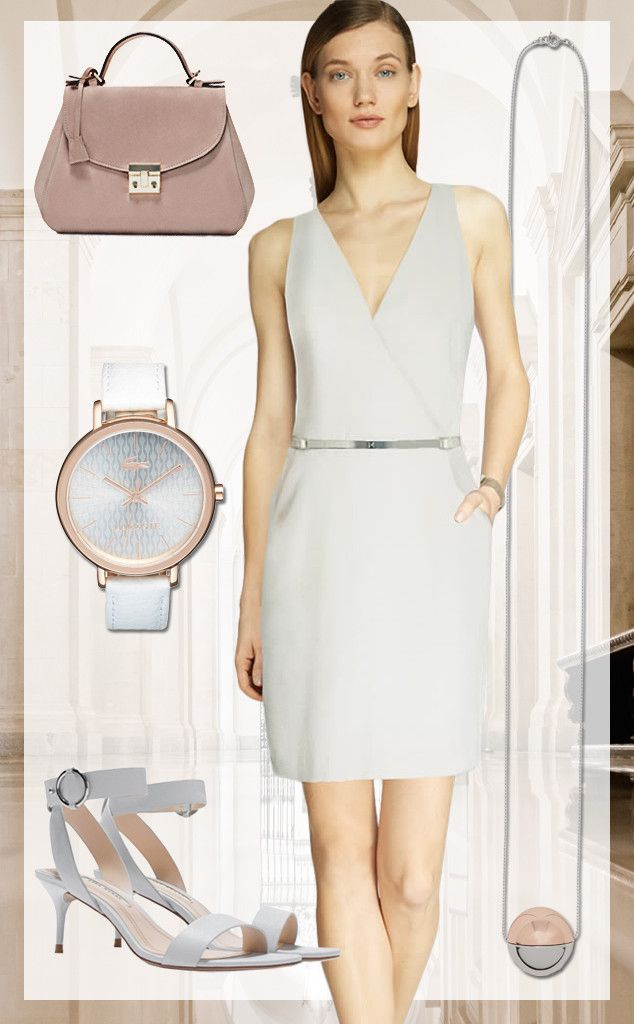 175f391df0f9c Courthouse Chic from 15 Wedding Guest Outfit Ideas for Every Type of  Ceremony Halston Heritage Crepe Dress, $345; Lacoste Nice Guilloche Dial  Leather Strap ...