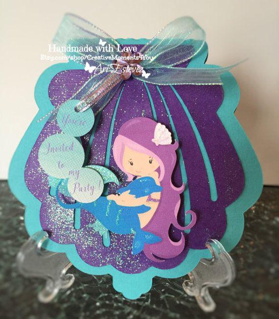 Mermaid Birthday Shell Invitation, Under The Sea Themed