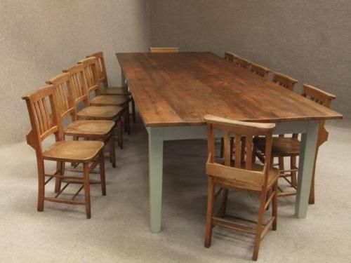French Farmhouse Kitchen Table large french farmhouse table & 12 vintage chapel chairs | french