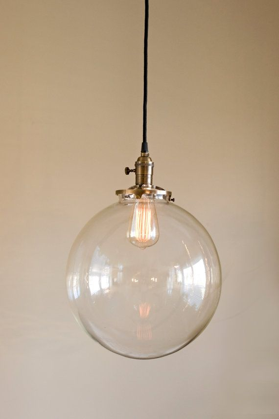 Hanging Pendant Light Fixture With 12 Clear Glass Globe Usa Handblown Glass Hanging Pendant Light Fixtures