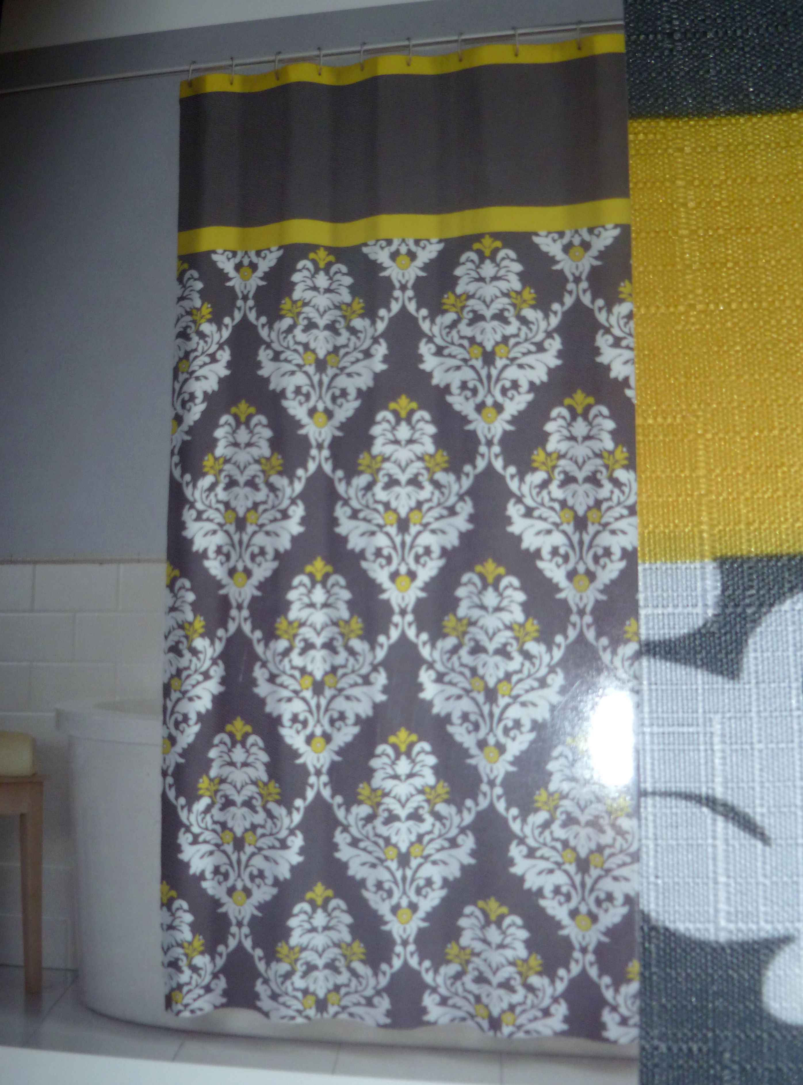 gray and yellow shower curtain- dollar general, $4 with 50% off ...