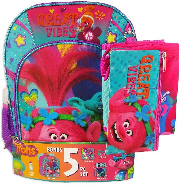 Dreamworks Trolls Poppy Backpack and Lunch Bag Set w// bonus pencil case