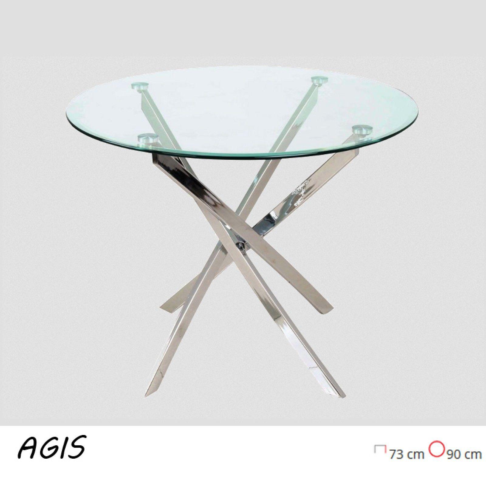 Agis modern, edzett üveg kerek étkezőasztal, krómozott fém vázzal ...