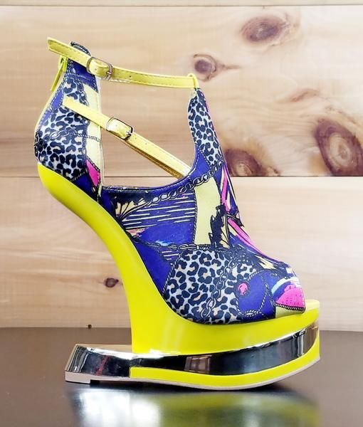 1202caa7bc86 Aymor Yellow Purple Multi Color Heel Less Wedge Shoe in 2018