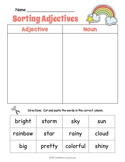free printable rainbow adjective sorting worksheet adjective worksheets. Black Bedroom Furniture Sets. Home Design Ideas