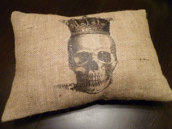 13 x 19 Royal Skull Burlap Pillow Cover by AislinnCreations, $23.50