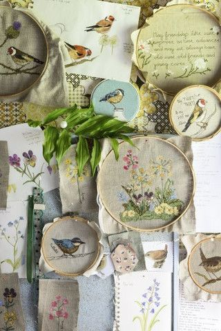 Wild flowers, birds and street scenes made using free-motion embroidery and…
