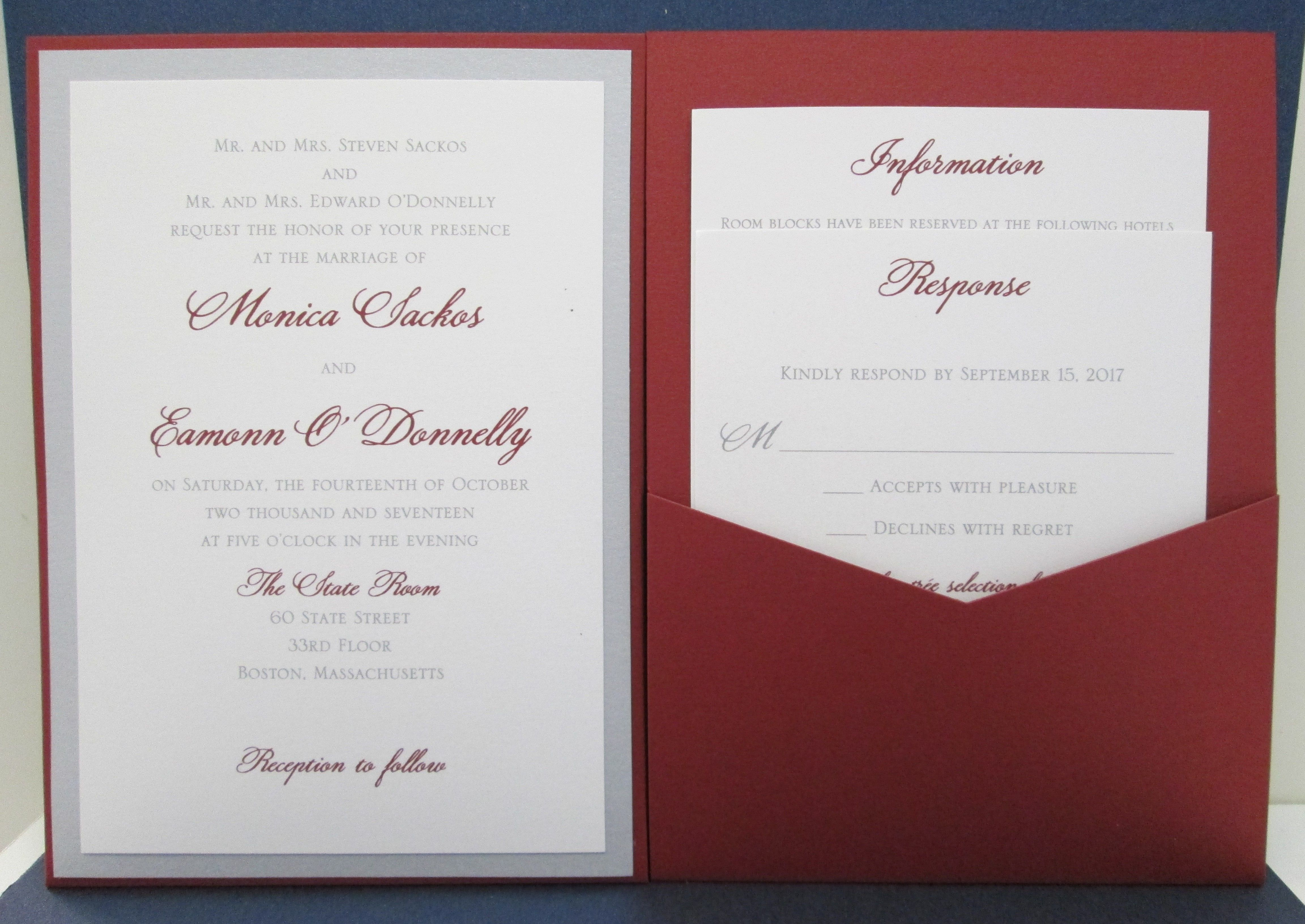 Red and Silver Pocket Card Invitation | Wedding Invitations ...