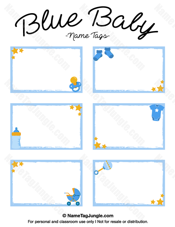 Free Printable Blue Baby Name Tags The Template Can Also Be Used For Creating Items