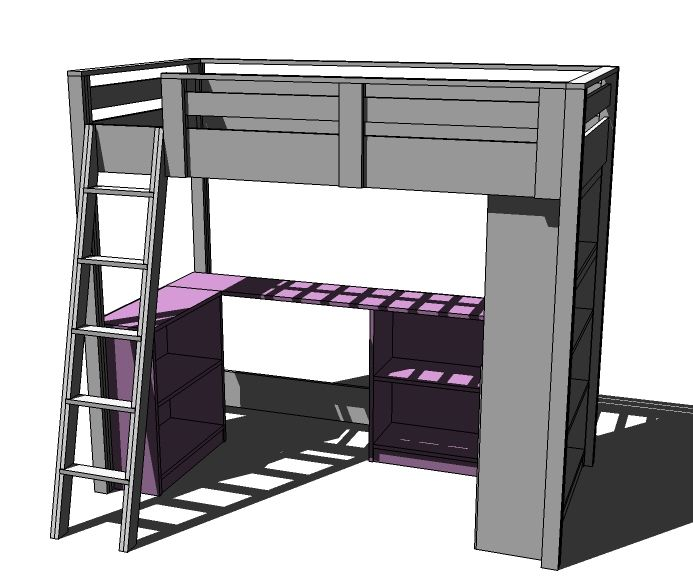 ana white build a loft bed small bookcase and desk free and easy diy project and furniture. Black Bedroom Furniture Sets. Home Design Ideas
