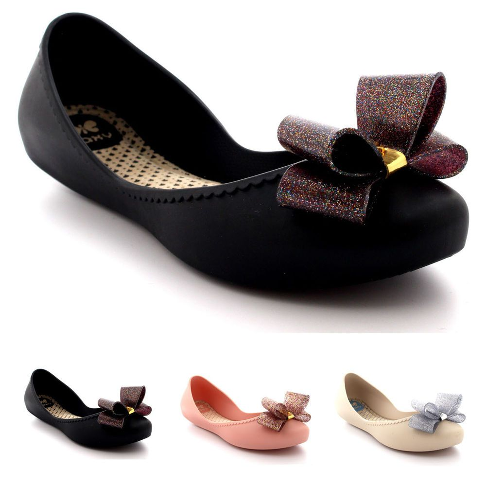 99fea3647efe Womens Zaxy Start Glitter Bow Flat Casual Work Summer Slip On Rubber Shoe  UK 3-8