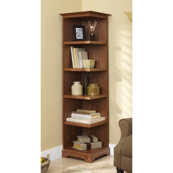 Corner Bookcase Woodworking Plan From Wood Magazine Bookcase Woodworking Plans Woodworking Plans Shelves Corner Bookshelves