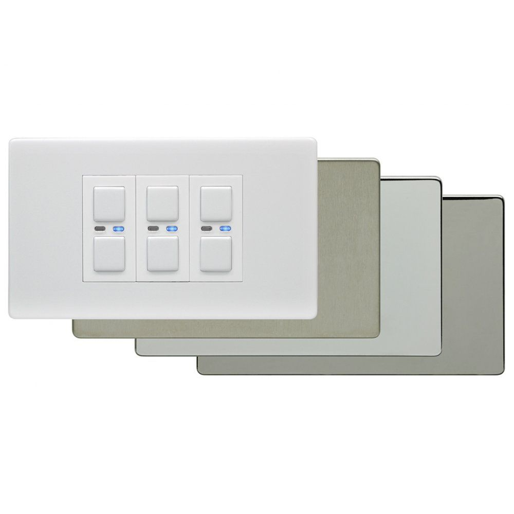 LightwaveRF Master 3 Gang 1 Way 210W Light Switch Dimmer LW430