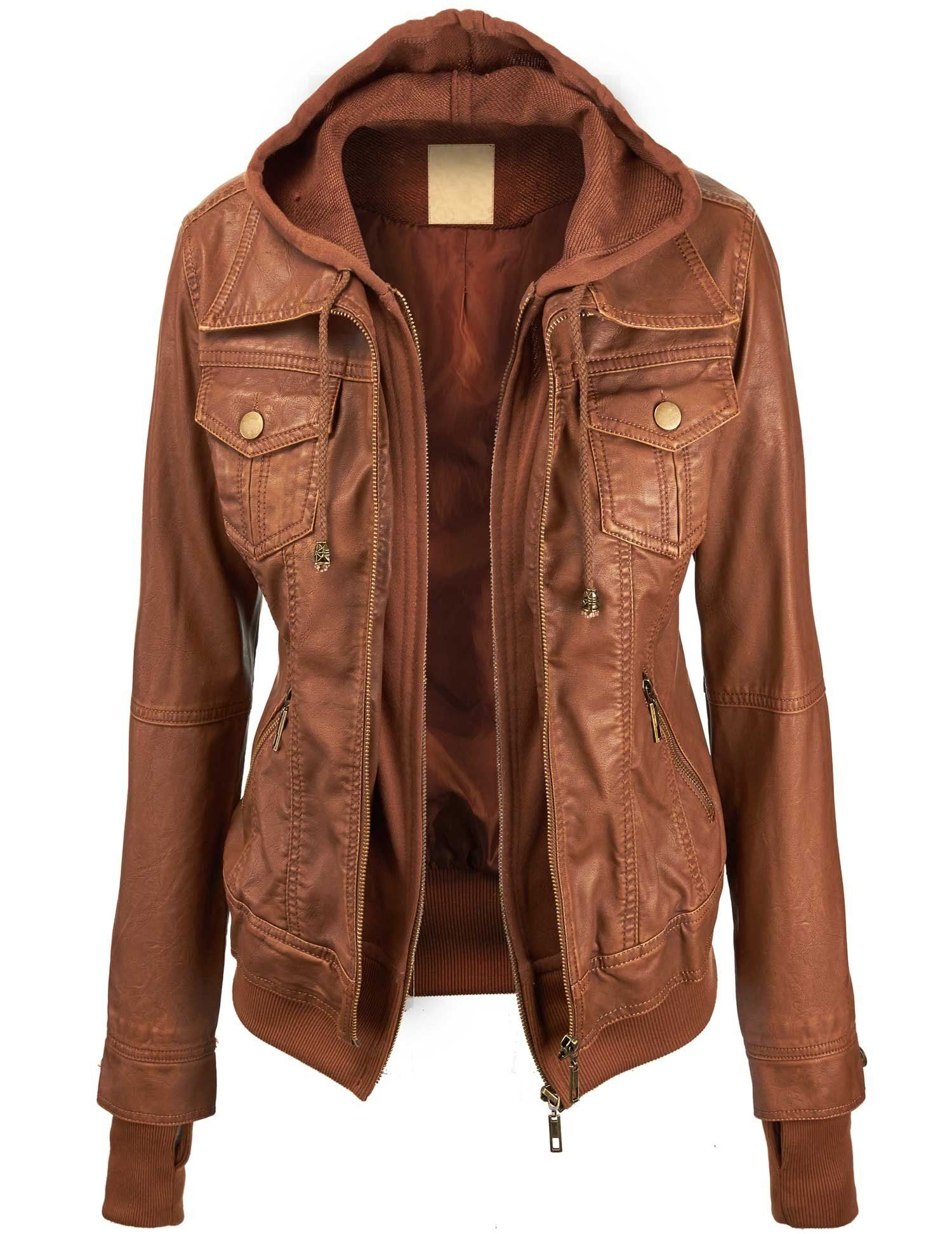 168262c6728 Lock and Love Women's Faux leather Jacket at Amazon Women's Coats Shop