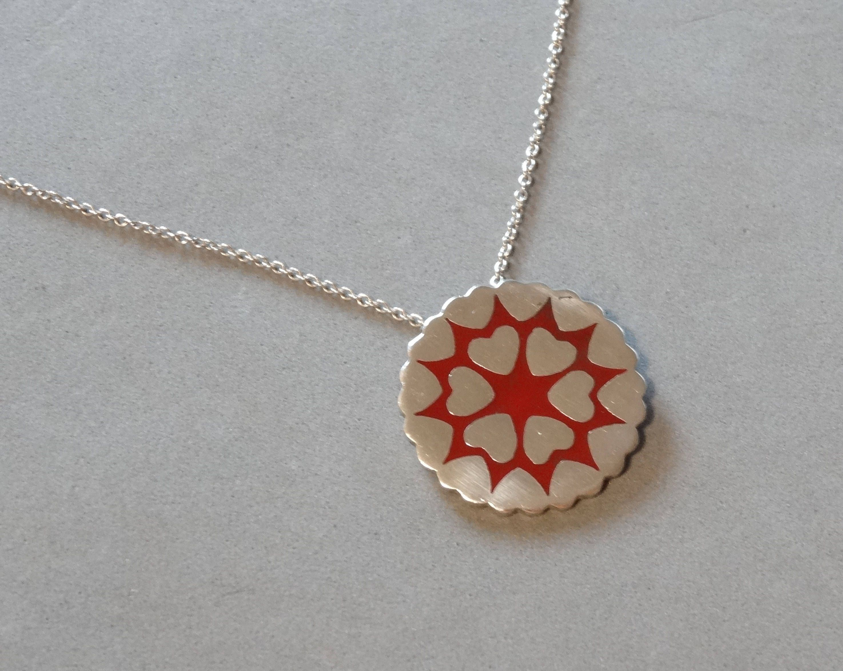 Vintage Heart Necklace Sterling Silver Pendant Red Enamel Gift for