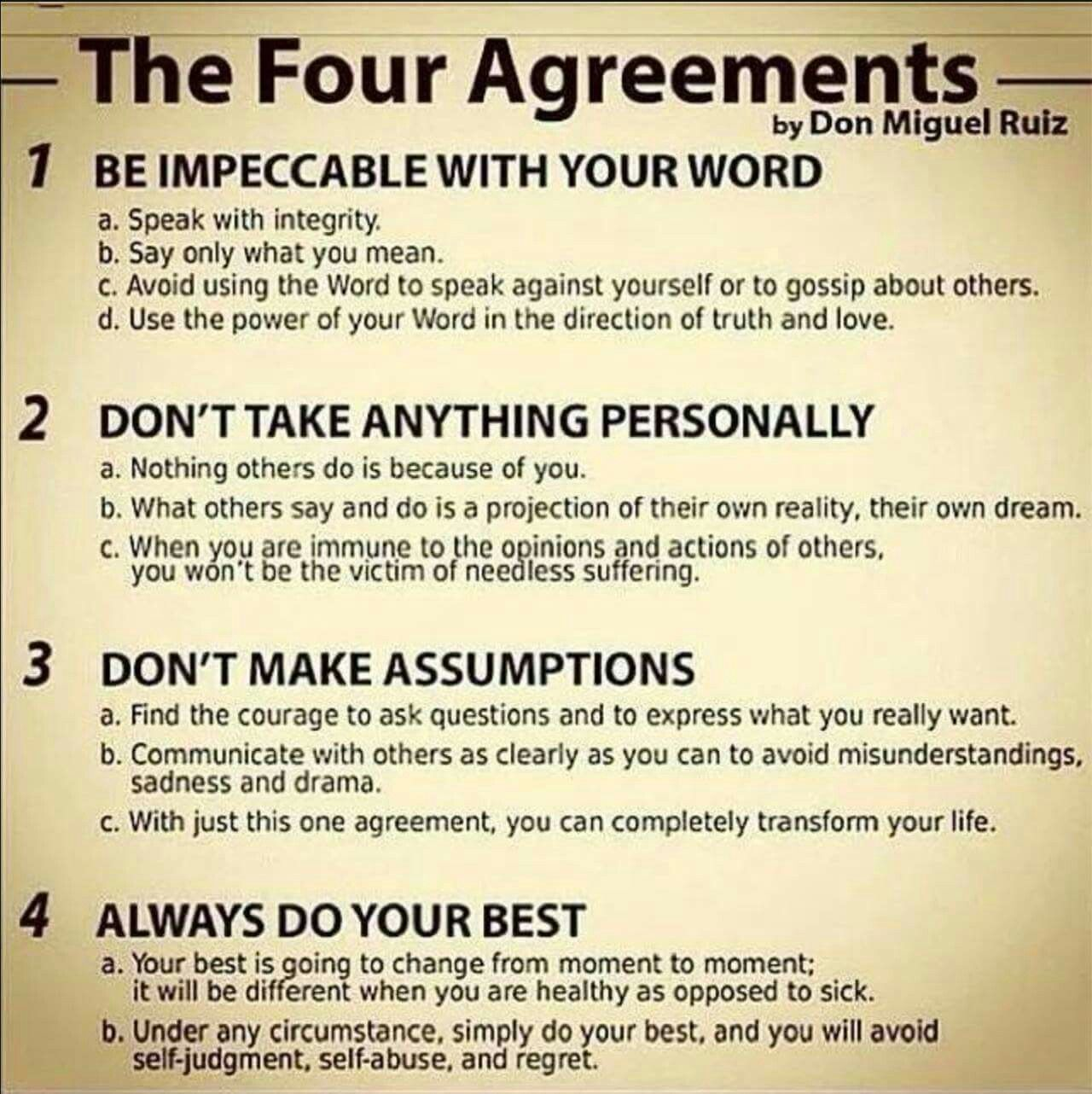 Four Agreements Quotes Don Miguel Ruiz  Inspirational  Pinterest  Wisdom Mind Body