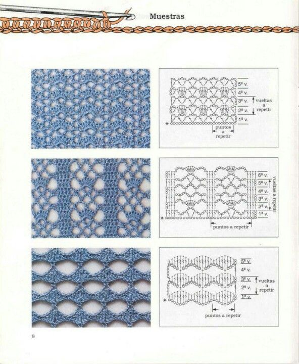 3 Lacy Crochet Patterns With Charts Fiber Tutorials Pinterest