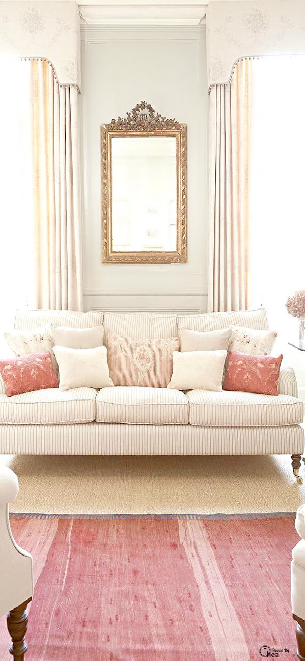 Pretty Living Room Colors Cream White Pink Salmon Draperies Furniture And Rug