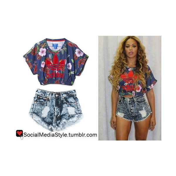 5a8957ca92592 Beyonce s Floral Print Adidas Originals by Rita Ora Crop Top and The... ❤  liked on Polyvore featuring adidas originals and cut-off
