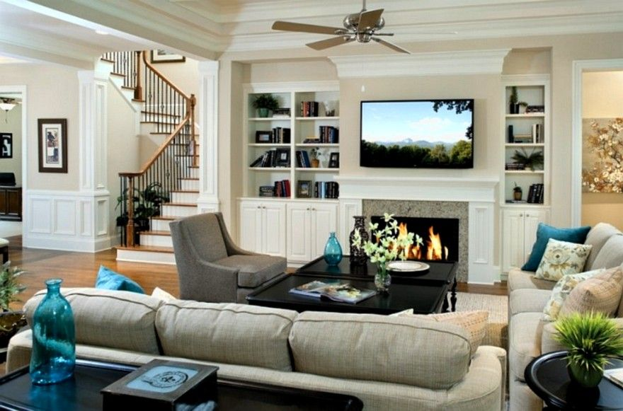 Living room designs with fireplace and tv google search for Traditional living room ideas for small spaces