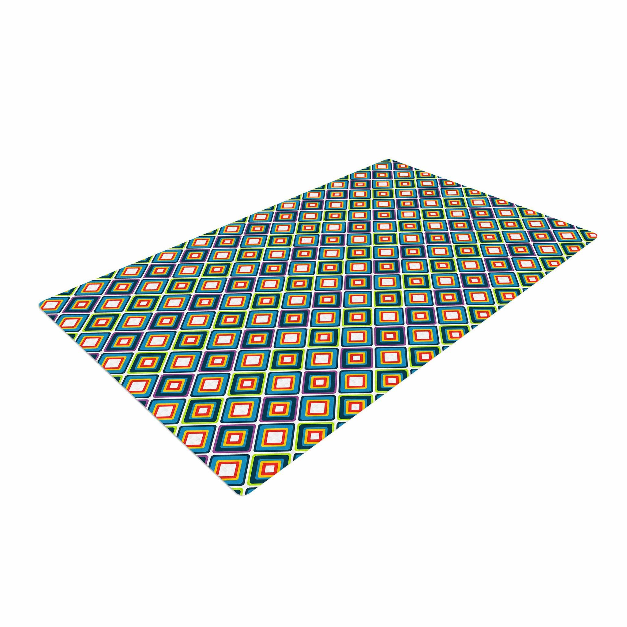 Nandita Singh Bright Squares Blue Green Pattern Woven Area Rug