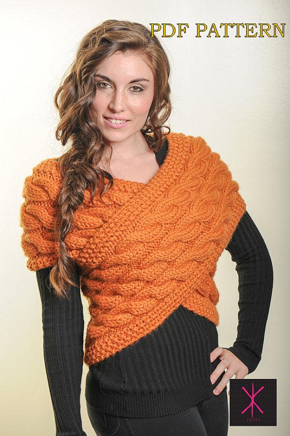 Handknit designer Sweater Vest Wrap PDF Pattern by KYSAA on Etsy ...