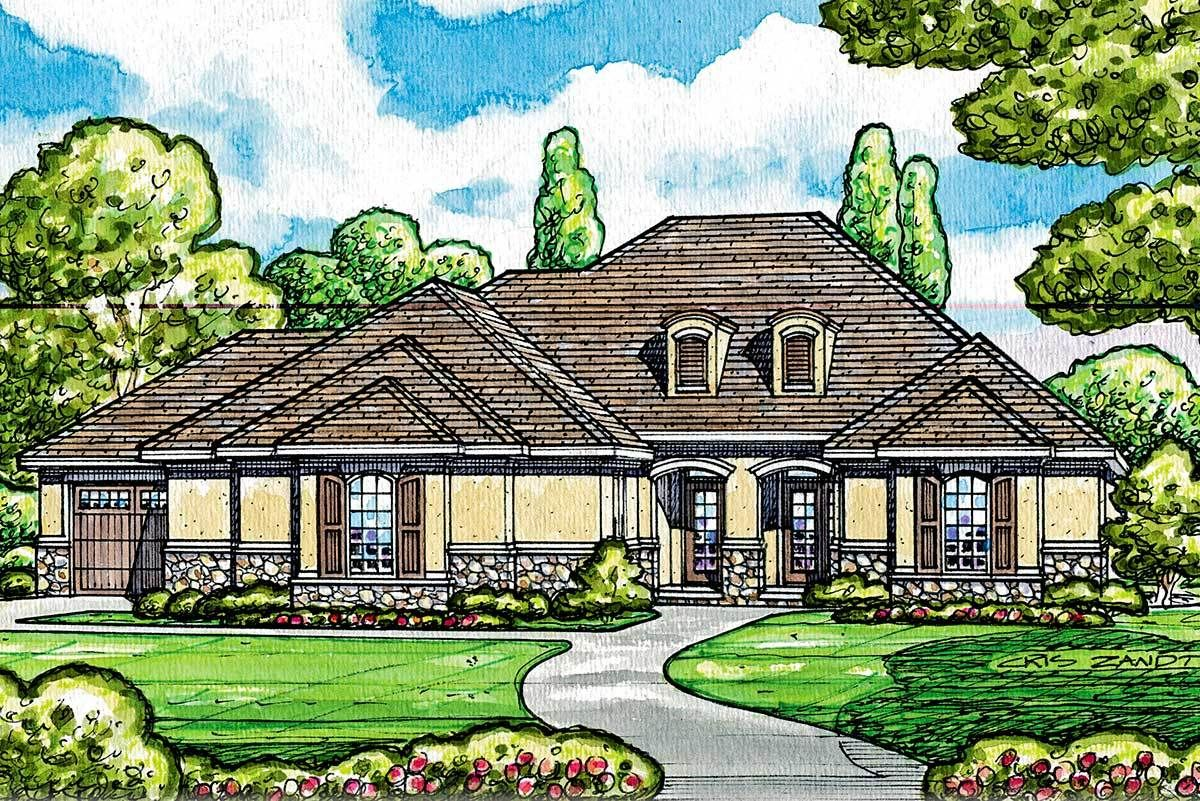 Plan 42212db One Story Stucco House Plan With Brick Accent In 2021 House Plans One Story Stucco Homes House Plans